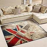 british 5x7ft - ALAZA Vintage Guitar British Flag Area Rug Rugs for Living Room Bedroom 7' x 5'