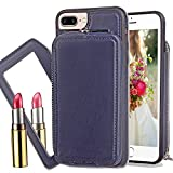 """iPhone 7 Wallet Case,Kudex Durable Slim Fit Anti-Shock High Impact Protective Premium PU Vegan Leather Zip Carrying Purse Shell Cover with Detachable Cosmetic Mirror for Women/Men iPhone 7 4.7"""""""