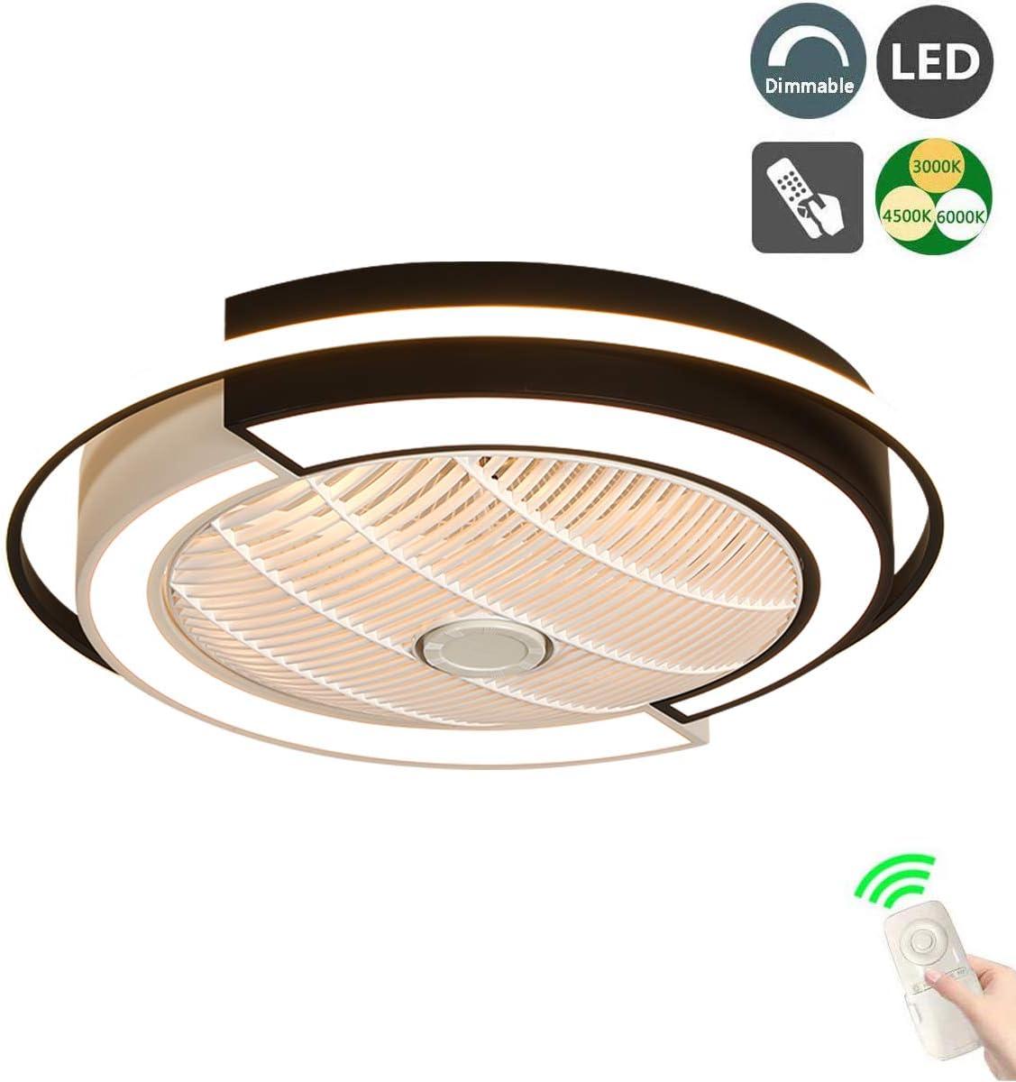Ventilador de Techo LED, Silencioso Ventilador de Techo Con luz y mando a distancia, 3 Velocidades, 1/2/4 H Temporizador, 36W, Φ53 * H20cm, Regulable Luz de Techo para Habitacion Cocina