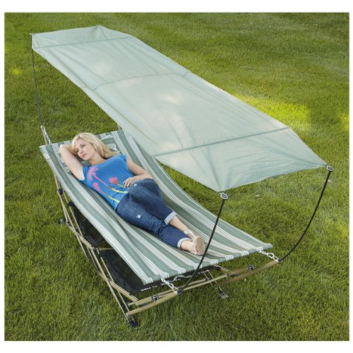 Bliss Hammocks Stow-ez Portable Hammock and 4 Part Stand with Canopy In Blue