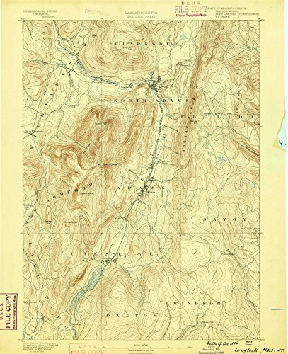 Greylock MA topo map, 1:62500 scale, 15 X 15 Minute, Historical, 1886, 19.4 x 15.8 IN - - Oak Brook Center Map