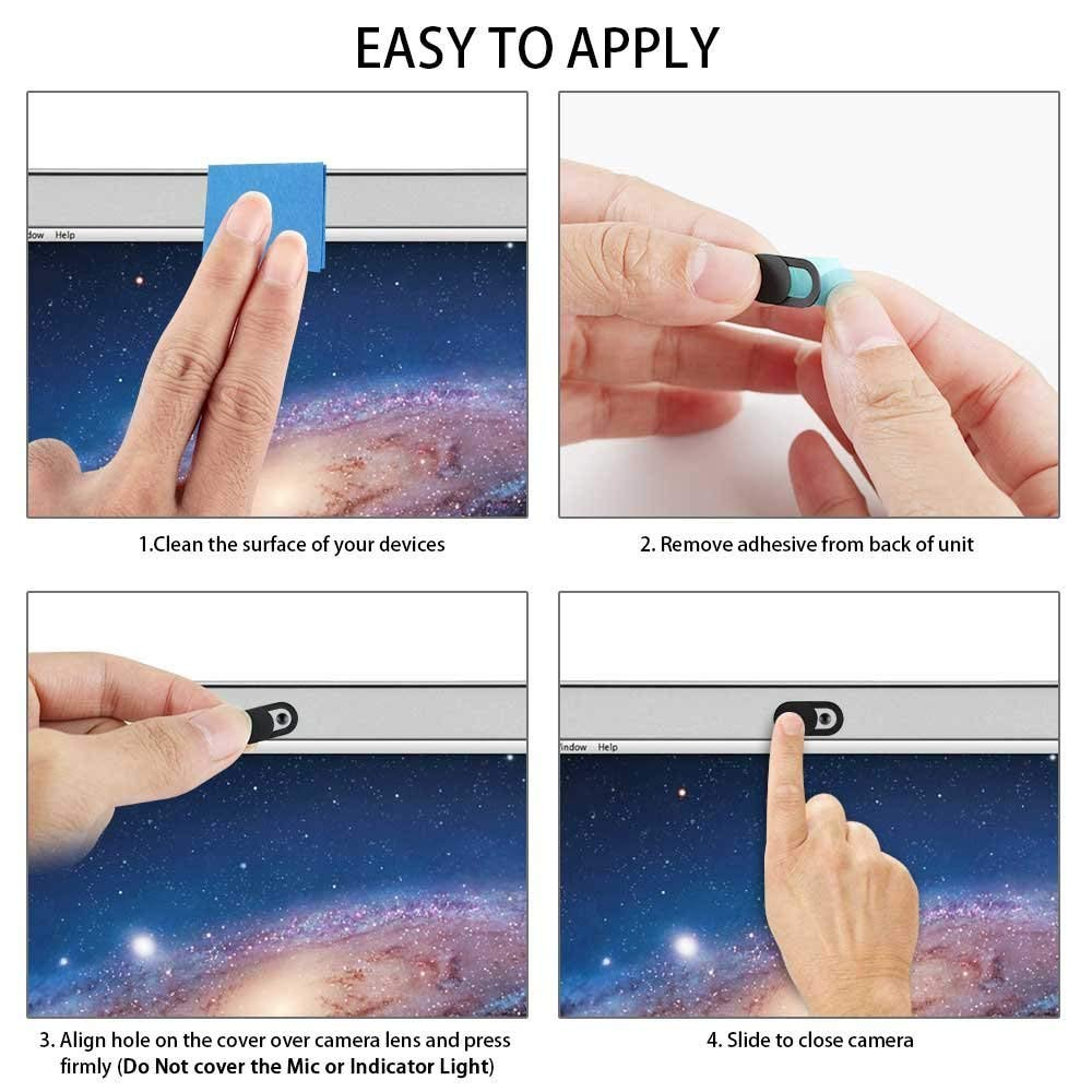 Black MacBook iPad iMac PC Computer Pro Protect Your Privacy Security Digital Sliding Covers 12-Pack Ultra Thin Design Web Camera Cover Slide Compatible Laptop Vetoo Webcam Cover
