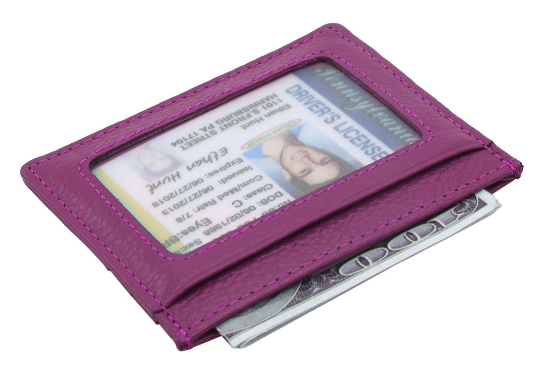 DEEZOMO RFID ブロッキング本革スリム超薄型カードホルダー IDカードの窓付き パープル