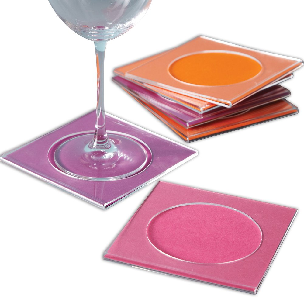 Two's Company High'n Dry Acrylic Cocktail Napkin Coasters, Set of 6 by Two's Company