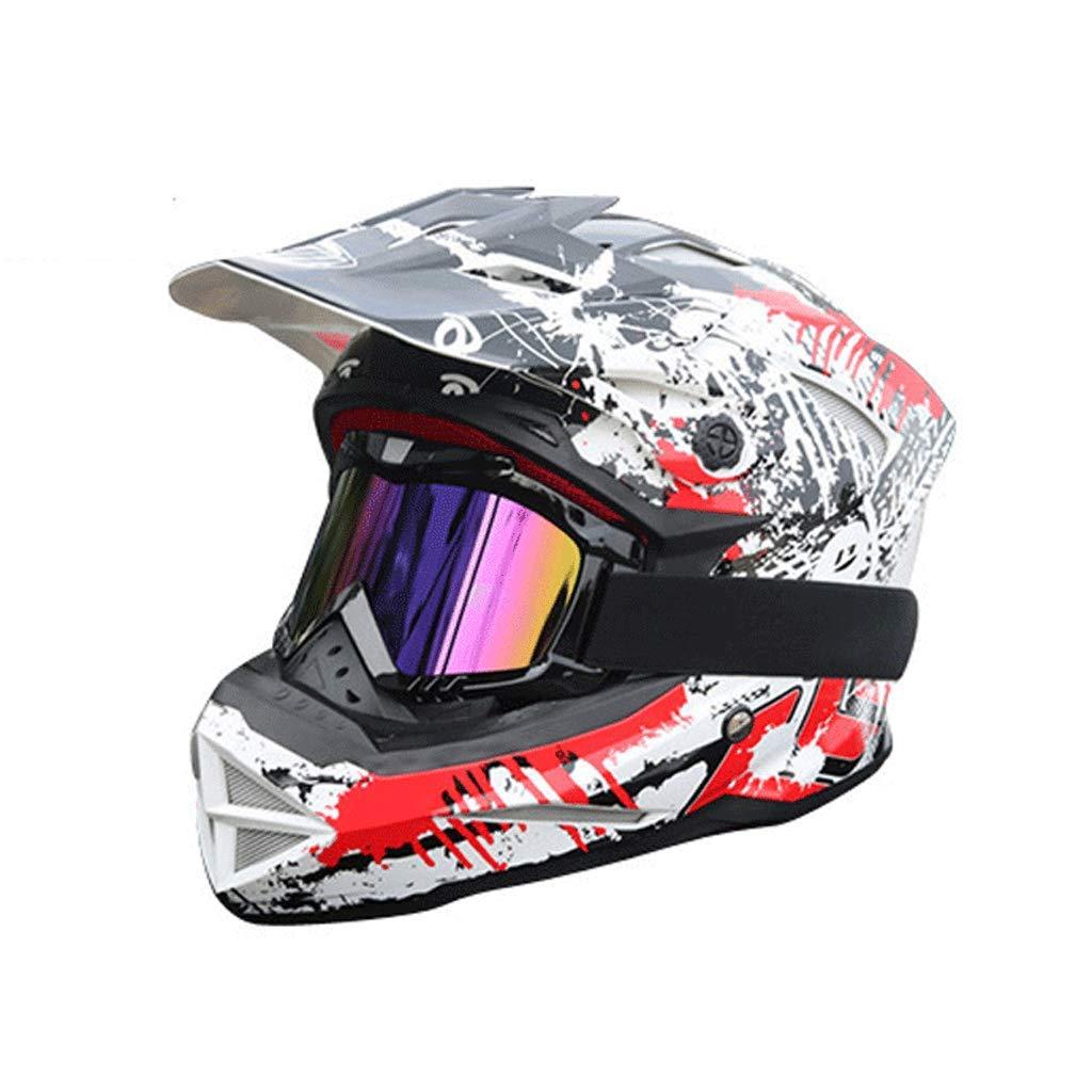 オフロードレーシングヘルメットオートバイ機関車マウンテンバイクスポーツフルカバレッジ (色 : 黒, サイズ さいず : S s) B07P665LBN X-Large|白 白 X-Large