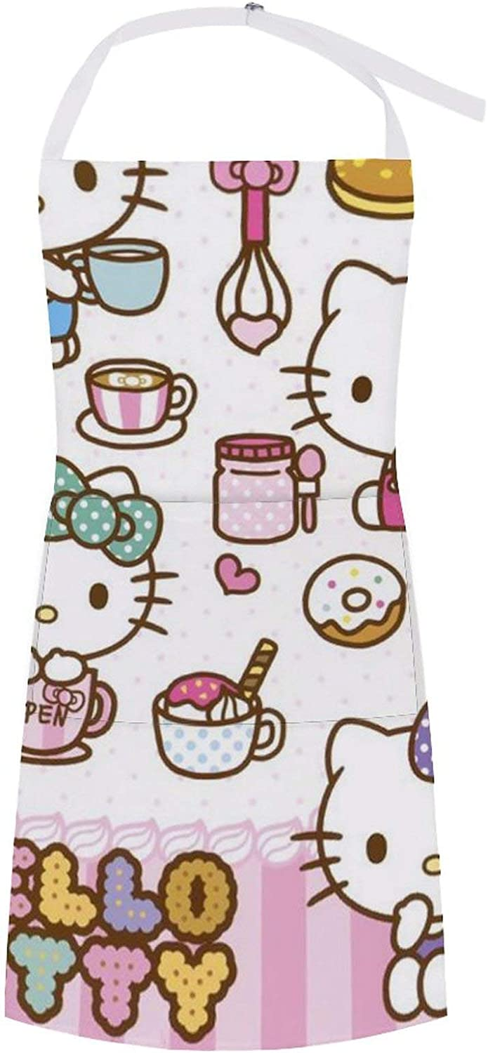 Hello Kitty & Lots of Drinks and Food Aprons for Women or Men with Pockets Waterproof Resistant Xmas Aprons BBQ Kitchen Cooking Dishwashing Painting Crafting,Birthdays, Anniversaries, Mothers Day, Or