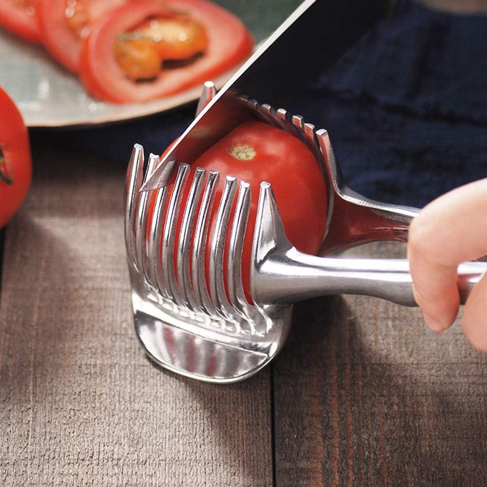 Spaccalegna Mliu Affetta pomodori Utensili da Cucina Affettatrice per Frutta e Verdura con Impugnatura salda Taglierina Tonda Multiuso Portatile