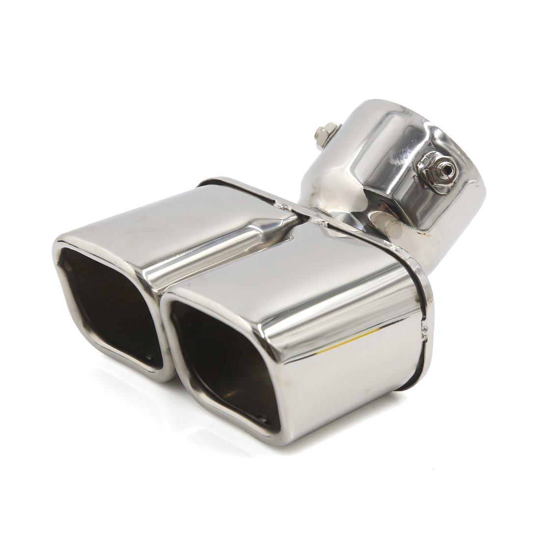 sourcingmap® 75mm Einlass gebogen Doppel Schrägschnitt Auspuff Schalldämpfer für Auto a16091900ux0799