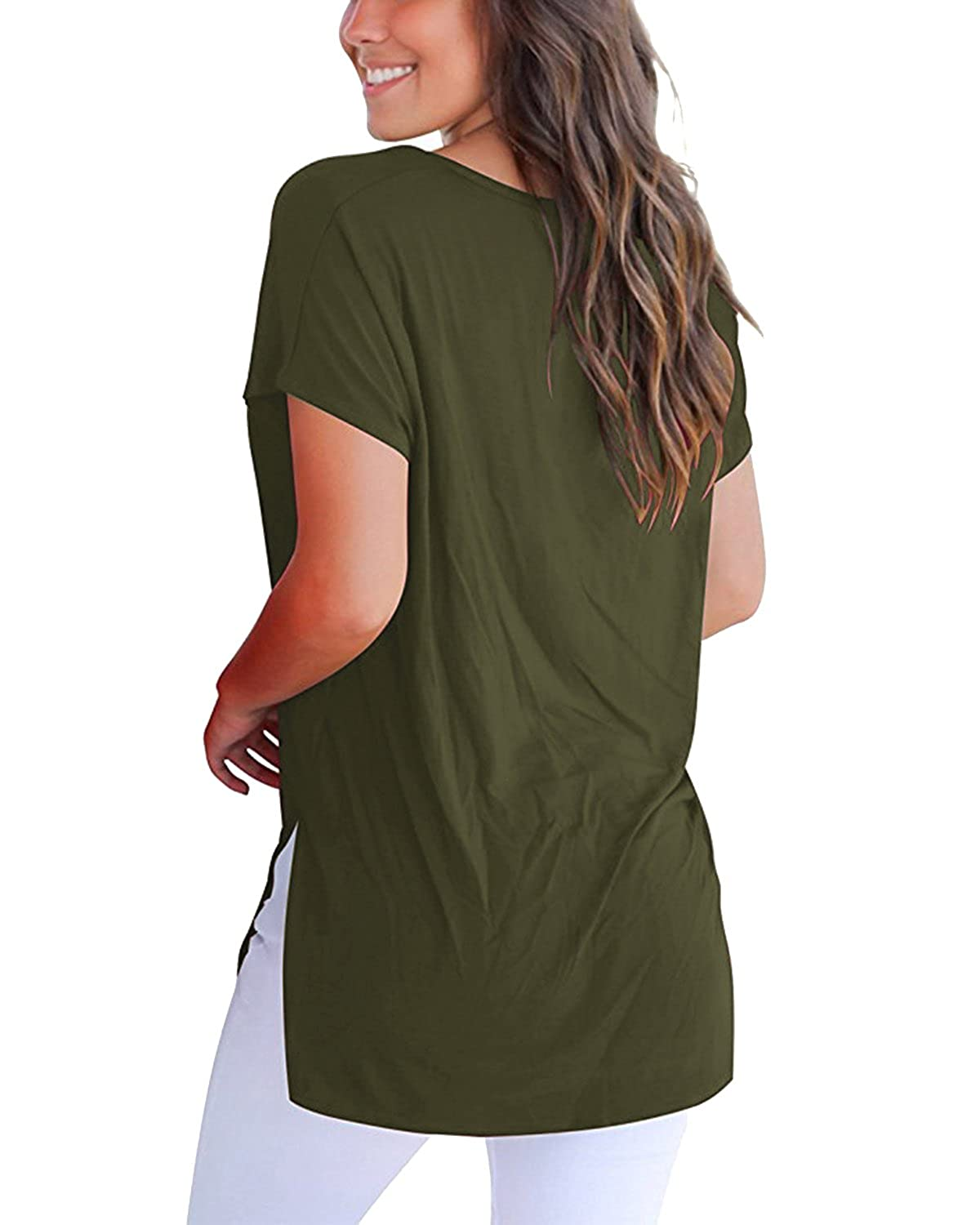 StyleDome Womens High Low Loose T Shirt Basic Tee Tops with Side Split Casual Shirts Blouse