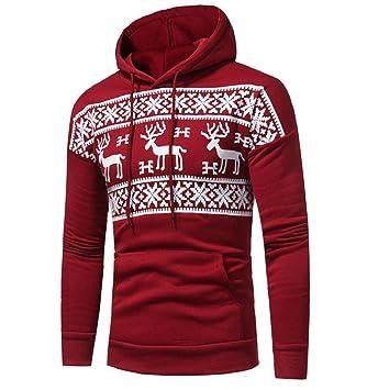 timeless design 50ef9 9cc75 ZEZKT-Herren Weihnacht Kapuzenpullover mit Schnee Muster | Hoodie Pullover  Strickjacke Winter-Jacke Sweatshirt (Rot-2XL)