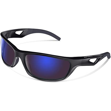 c698547e4ad3 WOOLIKE Sports Sunglasses Polarized Glasses for Women Man Cycling Running  Fishing Golf Outdoor W823 (Black Blue