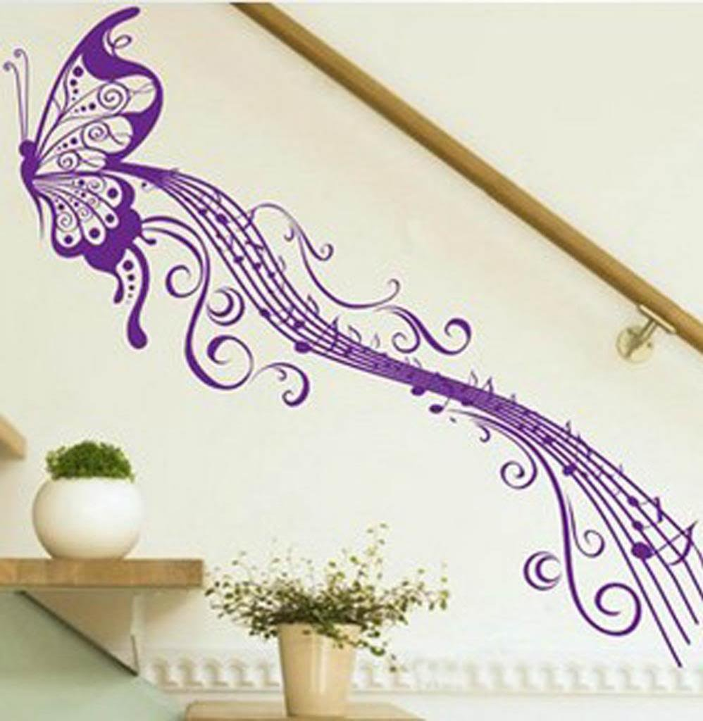 amazon com butterfly musical notes music staff sticker decal amazon com butterfly musical notes music staff sticker decal decor for living room stairs nursery glasses purple m home kitchen