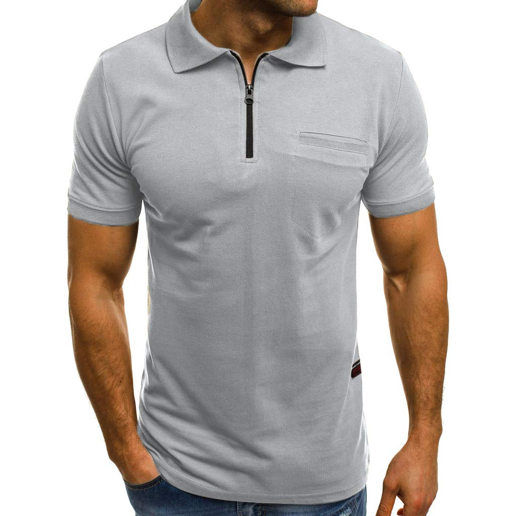 YOMXL Men's Casual Polo Shirt Summer Zipper Front Short Sleeve T-Shirt Classic Pocket Tee Tops Gray by YOMXL