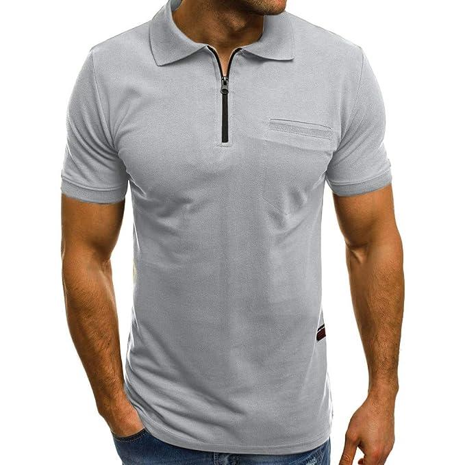 Kinlene Personalidad de la Moda de los Hombres Casual Slim Manga Corta Bolsillos Camiseta Top Blusa: Amazon.es: Ropa y accesorios