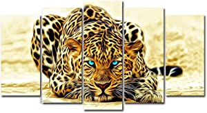 Horgen Art - 5 Panels Canvas Painting Wall Art - Blue Eyes Leopard Animal Picture Prints on Canvas Modern Artwork for Living Room Bedroom Home Decoration (No Frame)