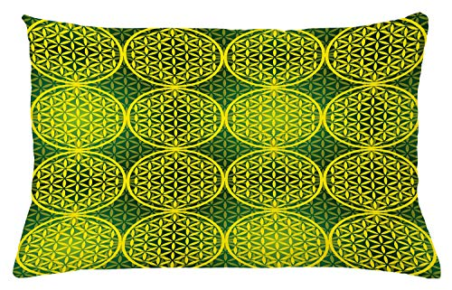 "Ambesonne Abstract Throw Pillow Cushion Cover, Modern Vivid Flower of Life Meditation Code Illustration, Decorative Rectangle Accent Pillow Case, 26"" X 16"", Green Yellow"