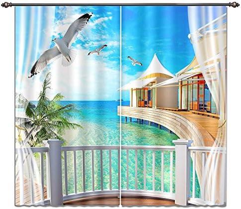 LB Tropical Beach Window Curtains Blue Sea Water Palm Trees Seaside Scenery Room Darkening 3D Blackout Curtains - a good cheap window curtain panel