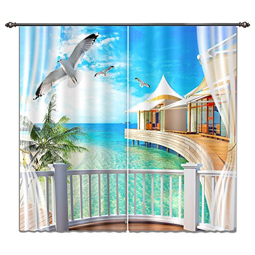 LB Tropical Beach Window Curtains Living Room Bedroom,Blue Sea Water Palm Trees Seaside Scenery Teen Kids Room Darkening 3D Blackout Curtains Drapes 2 Panels,42 x 84 inches -