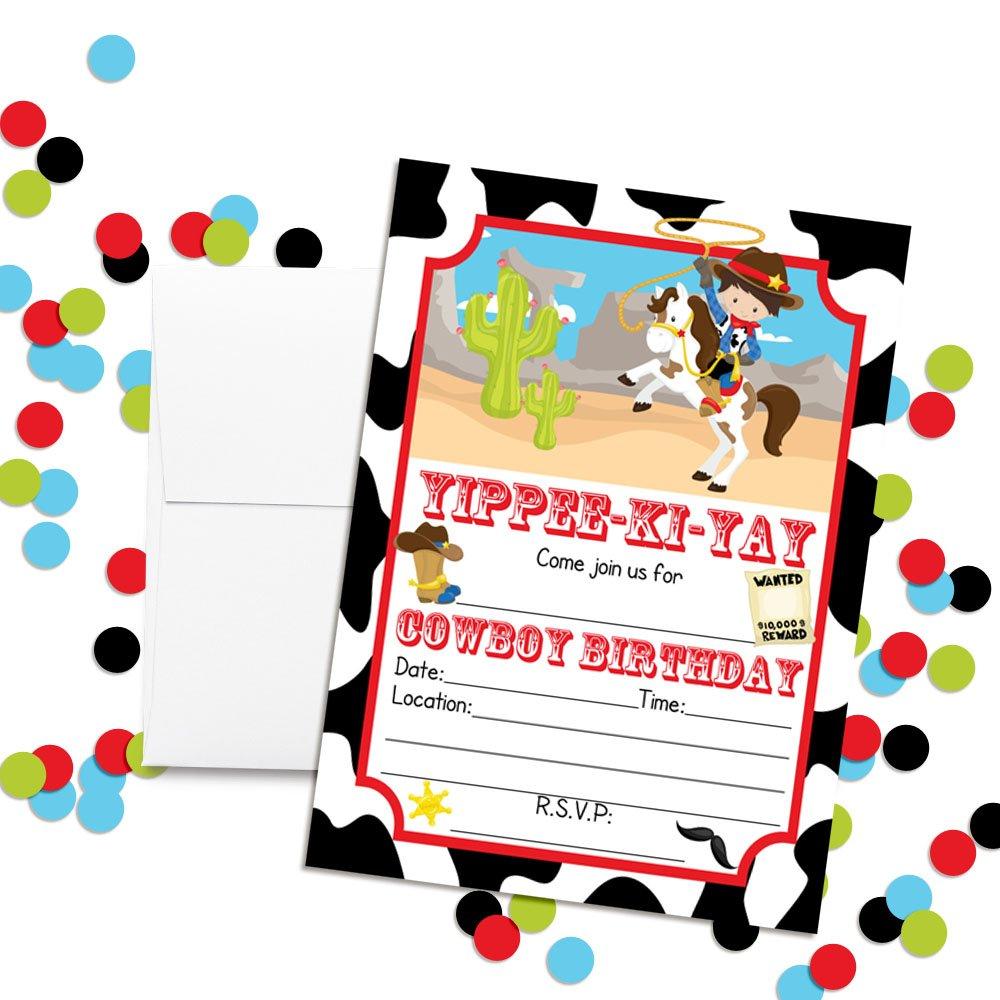 Amazon.com: Cowboy Birthday Party Invitations for Boys, 20 5\