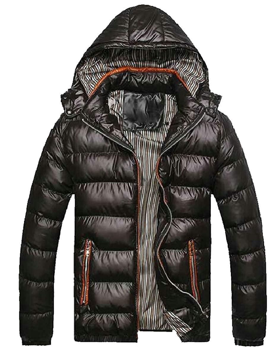 FLCH+YIGE Mens Zip up Thick Packable Slim Fit Qulited Cotton Down Jacket Coat