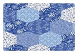 Japanese Pet Mats for Food and Water by Lunarable - Antique Asian Patchwork Artwork Ethnic Floral Pattern Geometric Hexagonal Handmade - Rectangle Non-Slip Rubber Mat for Dogs and Cats - Blue White