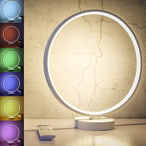 SUNY Modern Nightstand Lamp, 6 Lighting Effect Modes 7 Colors Dimmable Table Lamp, Circle Design Warm White Bedside Light w Remote Control