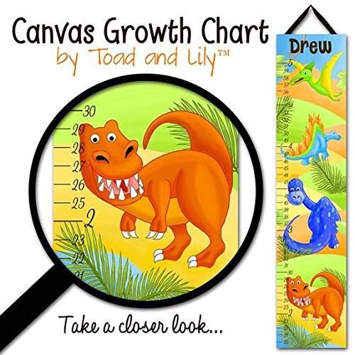 Canvas GROWTH CHART Bright Dinotastic Dinosaurs Kids Bedroom Baby Nursery Wall Art GC0104 by Toad and Lily