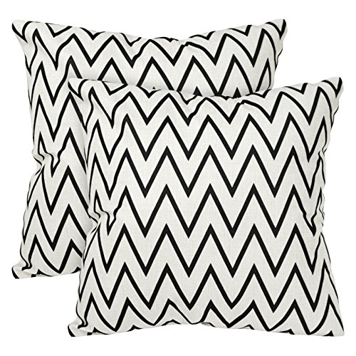 - Tealp Plaid Throw Pillow Cover Linen Cotton Decorative Pillow Case Home Sofa Cushion Set,2-Pack Geometry, stripes, regular Thin(narrow) lines design(18x18 inch),Thin Black and Thin White