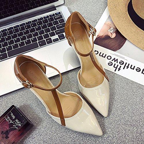 Sandales Fine Talon Couleur unie T Boucle Chaussures Été SHOESHAOGE qX1w6Ua