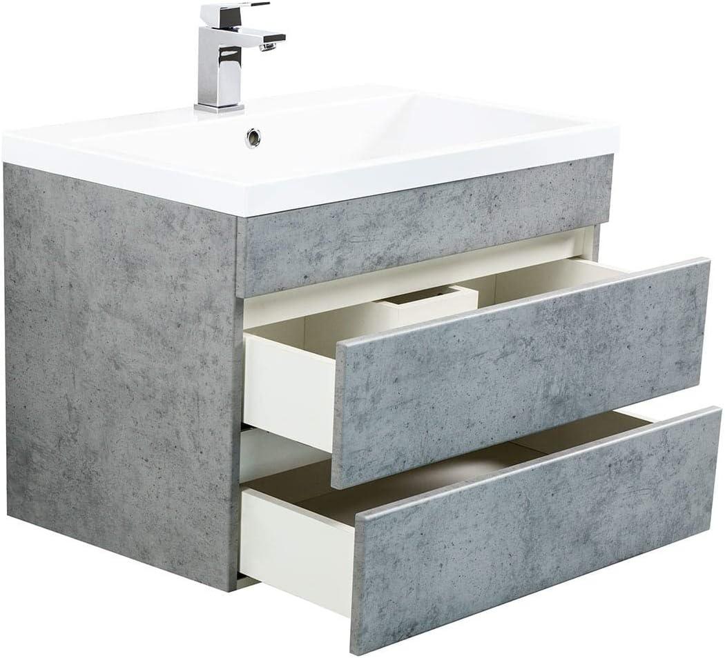 emotion Vanity mobile Via 70 cemento grigio con cassetti senza maniglie