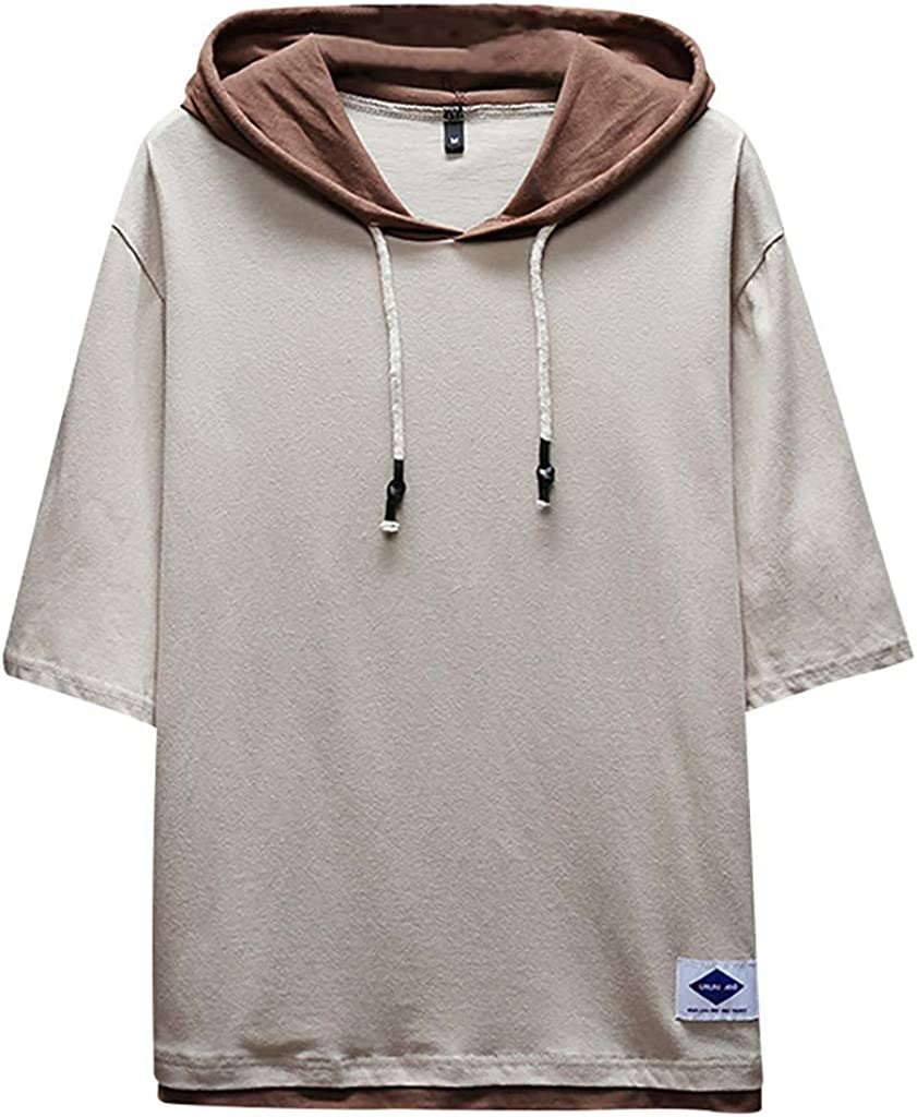 TOPUNDER Men's Summer Fashion Casual Patchwork Hoodie T-Shirts Short Sleeves Top Blouse