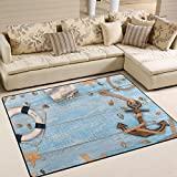 YZGO Vintage Marine Decoration Anchor on Wood- Kids Children Area Rugs Non-Slip Floor Mat Resting Area Doormats