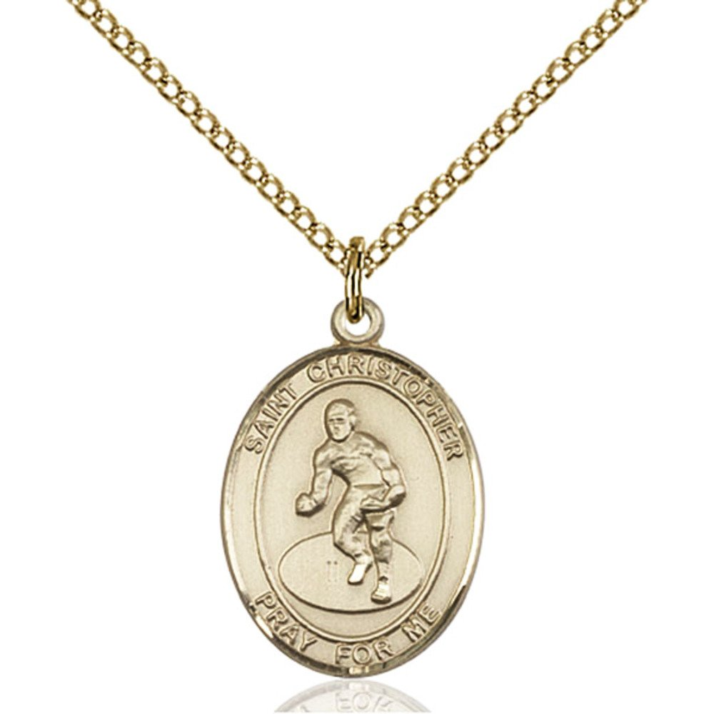 Custom Engraved Gold Filled St. Christopher/Wrestling Pendant 3/4 x 1/2 inches with Gold-Filled Lite Curb Chain