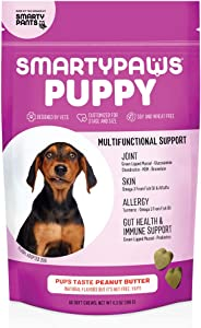 SmartyPaws Dog Supplement Chews for Puppies, Peanut Butter Flavor, 60 ct