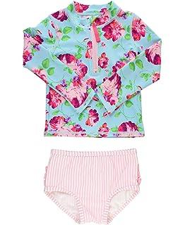 e2ee9a0b8b RuffleButts Baby Toddler Girls Long Sleeve Rash Guard 2 Piece Swimsuit Set  w UPF