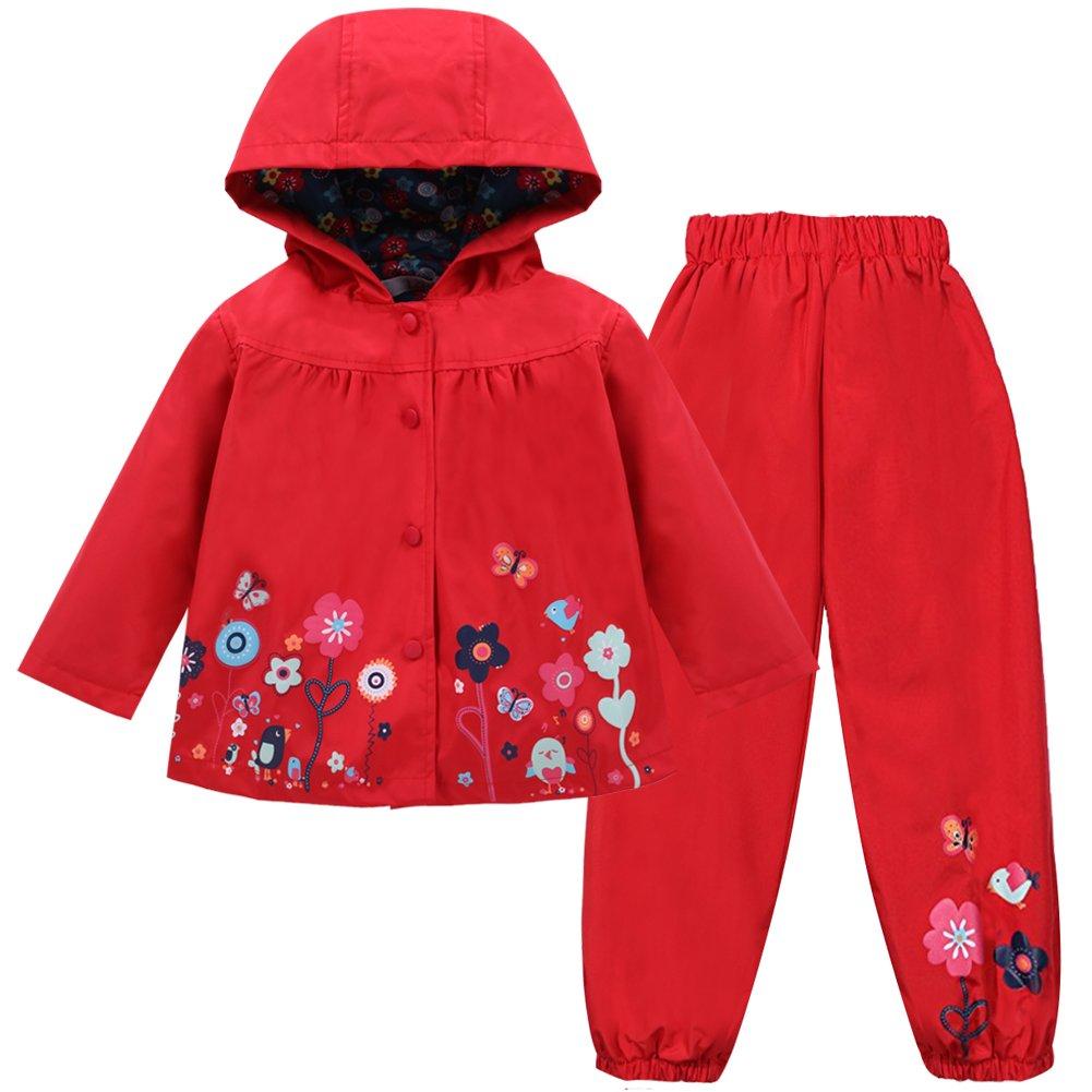 LZH Girl Baby Kid Waterproof Hooded Coat Jacket Outwear Suit Raincoat Hoodies with Pants Red 6(For Age 5-6Y)