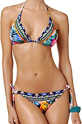 3201a5685ce La Blanca 2 Piece Bikini Set - Tropicali Floral Printed Halter Triangle Top  & String Side