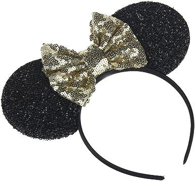 Disney Park Cute Mickey Festival Sequins Red Bow Minnie Mouse Ears Cos Headband