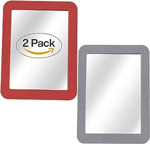 "Magnetic Mirror - 2-Pack Locker Mirror Boxgear - 5"" x 7""- for School Locker, Bathroom, Household Refrigerator, Locker Accessory, Workshop Toolbox or Office Cabinet, Grey and Red"