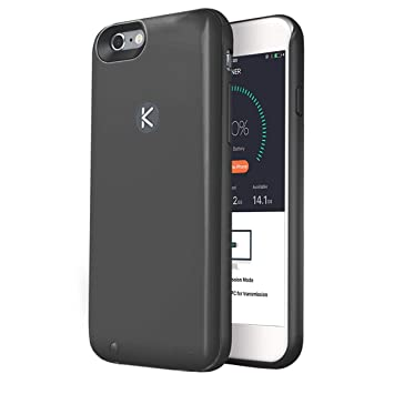 new concept e733d 478a5 KUNER Battery Case for iPhone 6/6s (2,400mAh) with Built-in 16GB Storage,  Black
