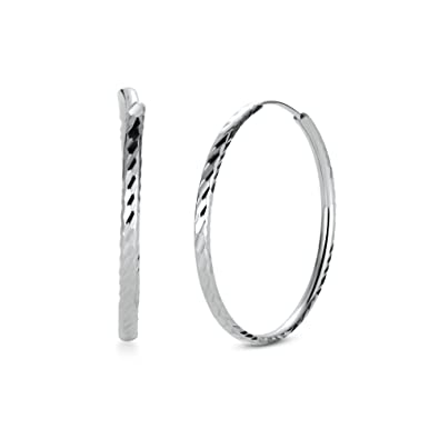 T400 Jewelers 925 Sterling Silver Diamond Cut sleeper Hoop Earrings,Size:25-65mm