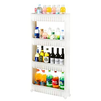 Tosnail 4 Tiers Slim Slide Out Storage Tower Pantry On Rollers For Laundry,  Bathroom