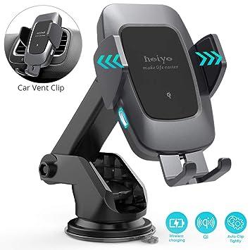 Heiyo Cargador Inalámbrico Coche, Qi Cargador Rápido Wireless Car Charger Soporte Carga Rápida 10W para Samsung S10/S10 +/Note 9/ s9/ s9 +/ s8/ s8 +/ ...