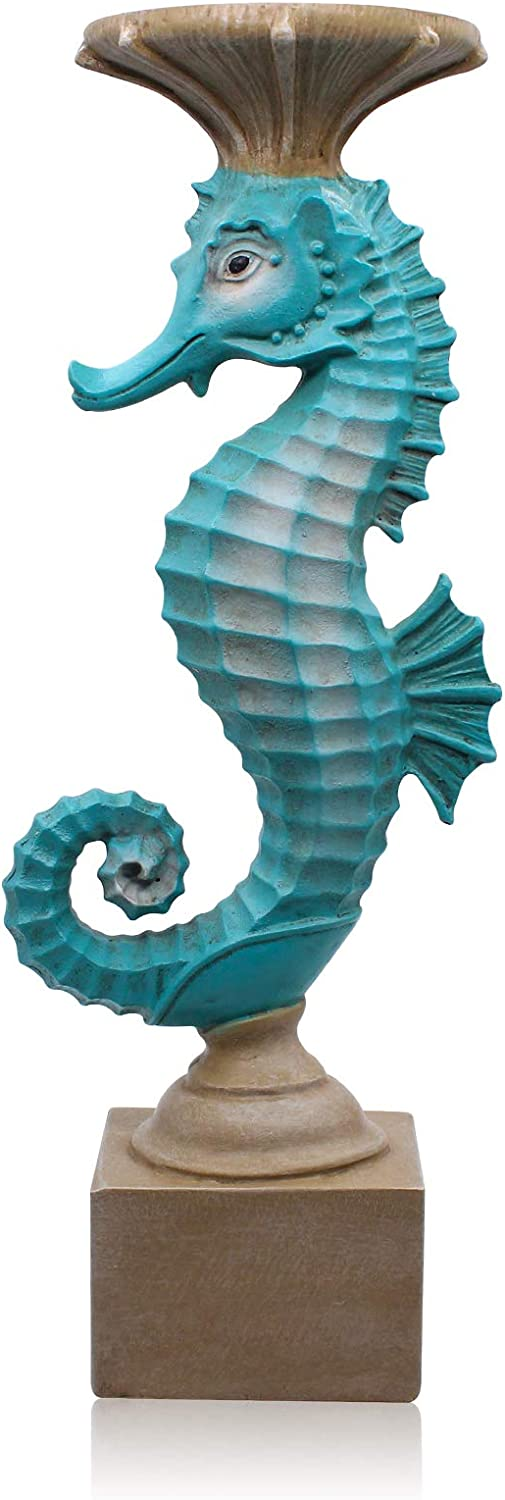 Seahorse Candle Holders for Candles Resin Antique Style Modern Decorative Candlestick for Table Wedding Dinning Beach Theme Party 15.4