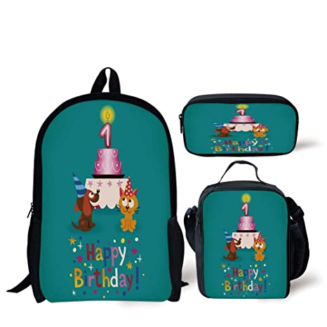 Amazon School Lunch Pen Bags1st Birthday DecorationsToddler Party Cat And Dog With Hats Cake On Petrol Blue BackdropMulticolorPersonalized Print