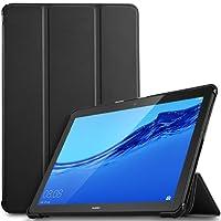 IVSO Huawei Mediapad T5 10 Custodia Cover Case, Slim Smart Protettiva Custodia Cover in pelle PU per Huawei Mediapad T5 10.1 Pollici 2018 Tablet, Nero