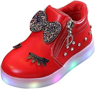 ELECTRI Enfants Baby Infant Girls Crystal Bowknot LED Bottes Lumineuses Sport Chaussures Arc Cristal Animation de Bande dessinée Sneakers