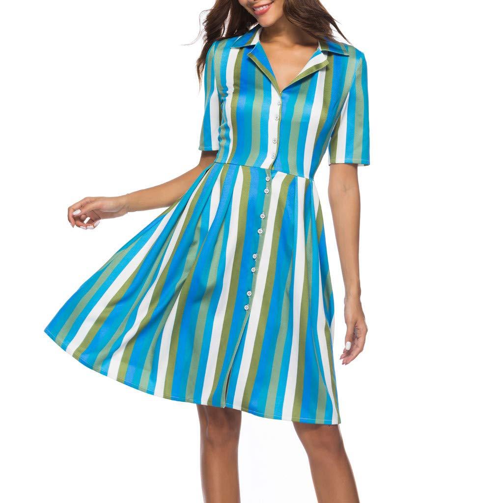 Alalaso Women Dresses-Summer Striped Button Down V Neck Shirt Mini Dress