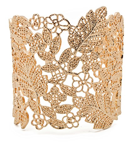 Filigree Vintage Adjustable Lace Wide Cuff Bracelets Bangles for Women Silver, Rose Gold, Gold or Black (Gold)
