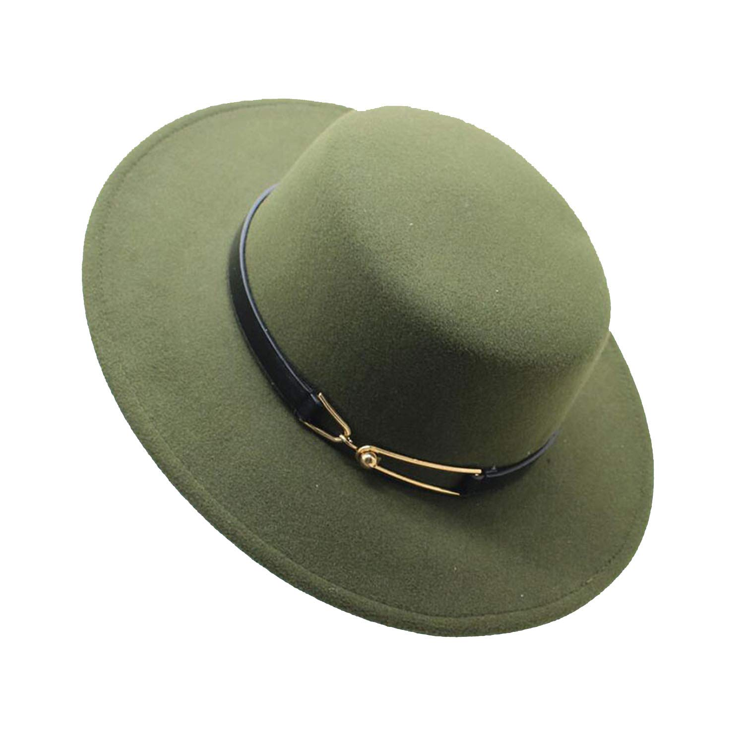 a3865a274ace17 2019 Winter Wool Pork Pie Boater Flat Top Hat for Women Men Felt Wide Brim  Fedora Player Hat at Amazon Women's Clothing store: